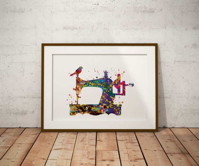 Sewing Machine Watercolour Print Wall Art