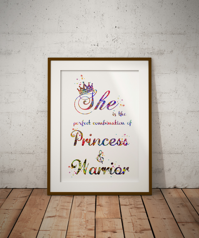 She Quote  Watercolour Print Wall Art