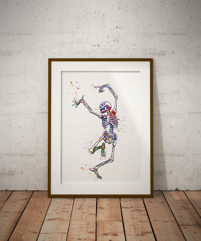 Skeleton Dance Watercolour Print Wall Art