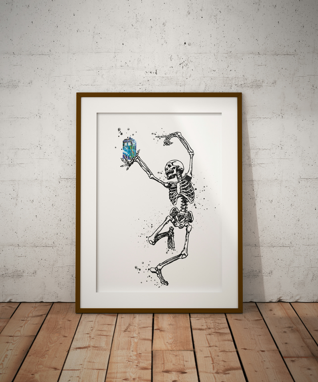 Skeleton Tardis Watercolour Print Wall Art