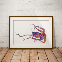 Octopus 4 Watercolour Print Wall Art