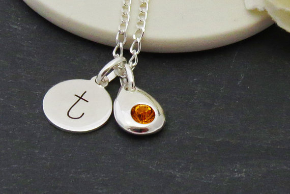 Sterling Silver Initial Birthstone Necklace
