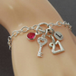 Sterling silver 21st Charm Bracelet with Key charm, Initial Charm, Birthstone