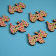 Wooden Scottie Dog Buttons Pink Green Yellow 6pk 28x20mm Scotty Puppy (DG3)