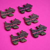 Wooden Scottie Dog Buttons Black Pink Green 6pk 28x20mm Scotty Puppy (DG4)