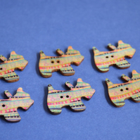 Wooden Scottie Dog Buttons Pink Blue Yellow 6pk 28x20mm Scotty Puppy (DG5)