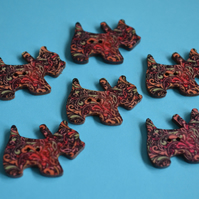 Wooden Scottie Dog Buttons Black Pink Turquoise 6pk 28x20mm Scotty Puppy (DG7)