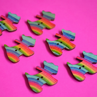 Wooden Scottie Dog Buttons Rainbow Stripe 6pk 28x20mm Scotty Puppy (DG8)