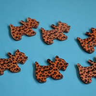 Wooden Scottie Dog Buttons Leopard Print Orange 6pk 28x20mm Scotty Puppy (DG9)