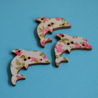 Wooden Dolphin Floral Buttons Pink Green 3pk 32x20mm Sea Nautical Flowers (DP4)