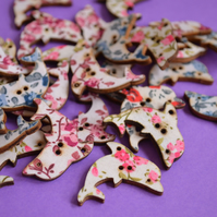 Wooden Dolphin Floral Buttons Mix 32x20mm Sea Nautical Flowers (DP6)