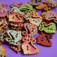 Wooden Cat Buttons Mixed 3pk 30x25mm Kitty Pussy Kitten (CT1)