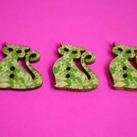 Wooden Cat Buttons Green 3pk 30x25mm Kitty Pussy Kitten (CT2)