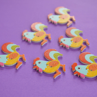 Wooden Cockerel Buttons Yellow Orange Blue Red 6pk 30x30mm Chicken Hen (CK6)