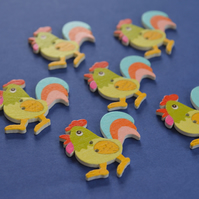 Wooden Cockerel Buttons Green Blue Pink 6pk 30x30mm Chicken Hen (CK7)