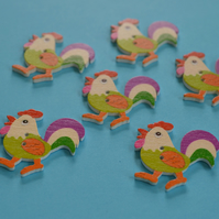 Wooden Cockerel Buttons Green Pink Purple 6pk 30x30mm Chicken Hen (CK8)