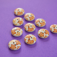 15mm Wooden Floral Buttons Orange Red Yellow White 10pk Flowers (SF2)
