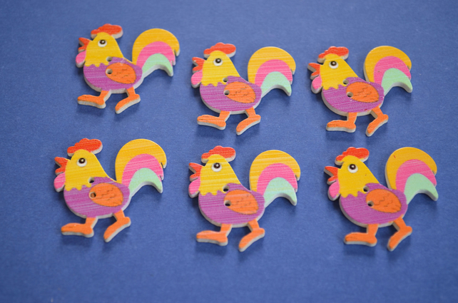 Wooden Cockerel Buttons Purple Yellow 6pk 30x30mm Chicken Hen (CK3)