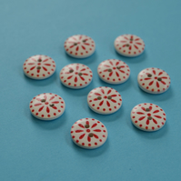 15mm Wooden Floral Buttons Red White 10pk Flowers (SF8)