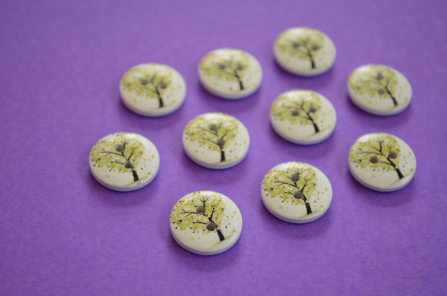 15mm Wooden Heart Tree Buttons Green White 10pk Leaves (ST1)