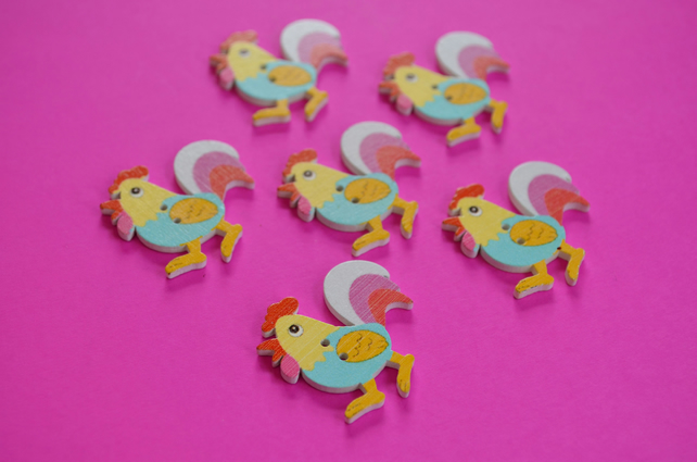 Wooden Cockerel Buttons Blue Yellow Pink 6pk 30x30mm Chicken Hen (CK5)