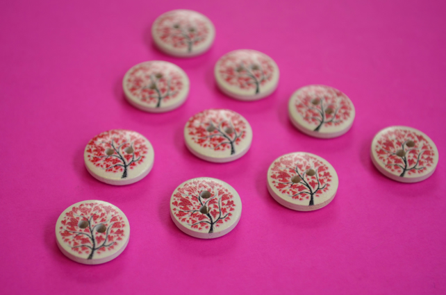 15mm Wooden Tree Buttons Red White 10pk Heart Leaves (ST13)