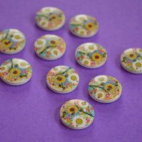 15mm Wooden Floral Buttons Sunflower Daisy White 10pk Flowers (SF9)