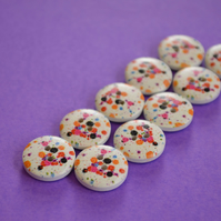 15mm Splatter Buttons Pink Blue Black Orange White 10pk Splat (S1)
