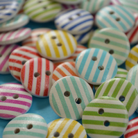 15mm Wooden Striped Buttons Random Mix 10pk Stripe Stripey (SST2)