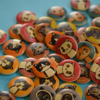 15mm Wooden Cat Buttons Random Mix Pussy Kitten Kitty (SCT2)