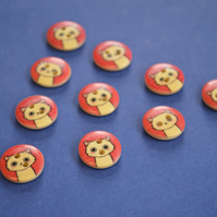 15mm Wooden Cat Buttons Red Cream 10pk Pussy Kitten Kitty (SCT3)