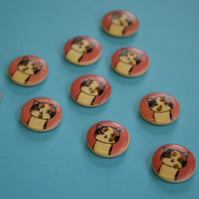 15mm Wooden Cat Buttons Pink Cream Brown 10pk Pussy Kitten Kitty (SCT5)