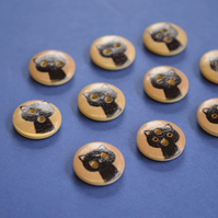 15mm Wooden Cat Buttons Beige Black 10pk Pussy Kitten Kitty (SCT7)