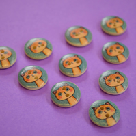 15mm Wooden Ginger Cat Buttons Blue Orange 10pk Pussy Kitten Kitty (SCT8)