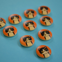 15mm Wooden Cat Buttons Orange Black White 10pk Pussy Kitten Kitty (SCT9)