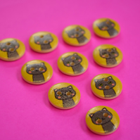 15mm Wooden Cat Buttons Yellow Grey 10pk Pussy Kitten Kitty (SCT10)