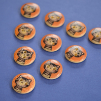 15mm Wooden Tabby Cat Buttons Brown Grey 10pk Pussy Kitten Kitty (SCT11)