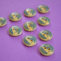 15mm Wooden Boat Buttons 10pk Nautical Sea Ship (SNT5)