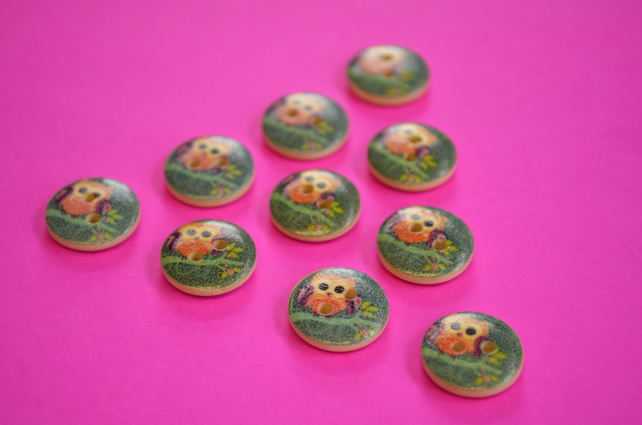 15mm Wooden Owl Buttons Purple Green Orange 10pk Bird (SOW4)