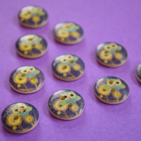 15mm Wooden Owl Buttons Dark Blue Turquoise Yellow 10pk Bird (SOW6)