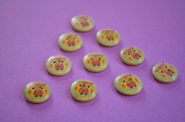 15mm Wooden Rainbow Owl Buttons Aqua Purple Yellow Pink 10pk Bird (SOW10)