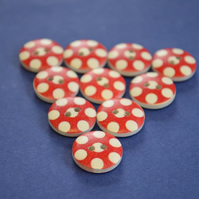 15mm Wooden Spotty Buttons Red White Large Dots 10pk Spot Dot (SSP5)