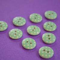15mm Wooden Spotty Buttons Aqua Blue With White Dots 10pk Spot Dot (SSP6)