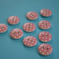 15mm Wooden Spotty Buttons Candy Pink With White Dots 10pk Spot Dot (SSP7)