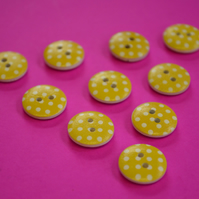 15mm Wooden Spotty Buttons Candy Yellow With White Dots 10pk Spot Dot (SSP8)