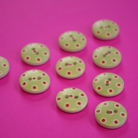 15mm Wooden Spotty Buttons Mint Green with Red Dots 10pk Spot Dot (SSP4)