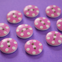 15mm Wooden Spotty Buttons Pink White 10pk Spot Dot (SSP19)