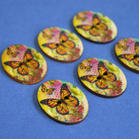 Wooden Oval Butterfly Buttons Colourful Flowers Yellow 6pk 30x22mm (OB6