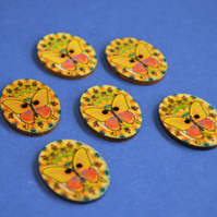 Wooden Oval Butterfly Buttons  Kaleidoscope Yellow Orange 6pk 30x22mm (OB4)