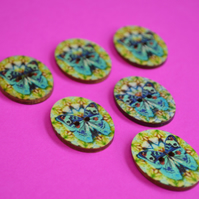 Wooden Oval Butterfly Buttons Colourful Kaleidoscope Blue Green 6pk 30x22mm (OB7